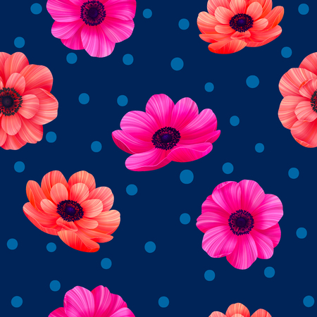 Luminous tropical seamless pattern with 3d style flowers and polka dots on navy background. Trendy design for wallpapers, wrapping, textile, screensavers, wedding or greeting cards. vector illustration.