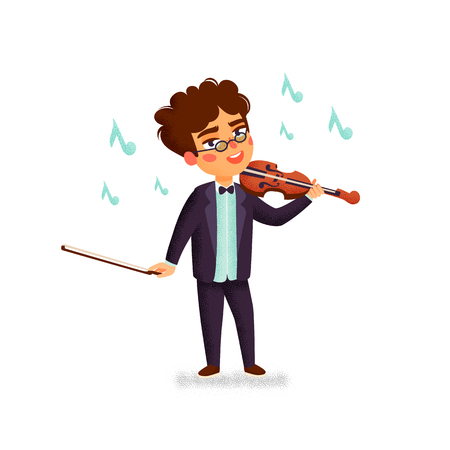 Music school. Violinist. Boy character playing violin. Children with musical instruments. Vector flat cartoon illustration with grain texture on white background