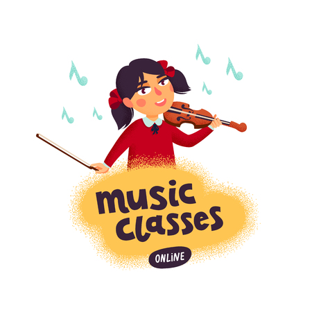 Music classes concept. Violinist. Girl character playing violin. Children with musical instruments. Vector flat cartoon illustration with grain texture on white background