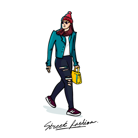 Street fashion. Stylish young woman. Sketch style illustration on white background. vector illustration