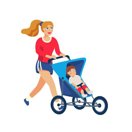 Madre elegante joven que corre con el bebé en el cochecito. Joven madre para correr con cochecito de bebé y. Ilustración de vector de estilo de dibujos animados.