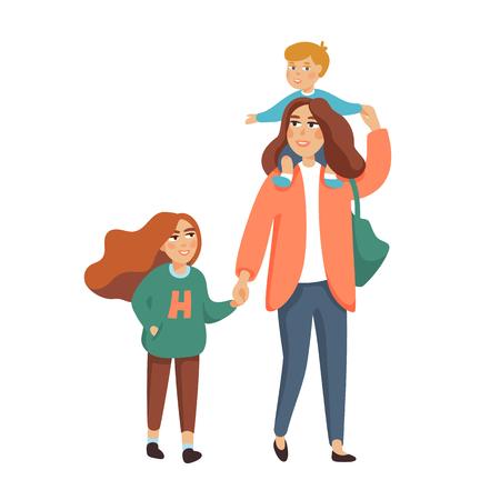 Joven elegante madre o niñera, niñera caminando con 2 niños, niño y niña. Familia feliz. Ilustración de estilo de dibujos animados de vector.