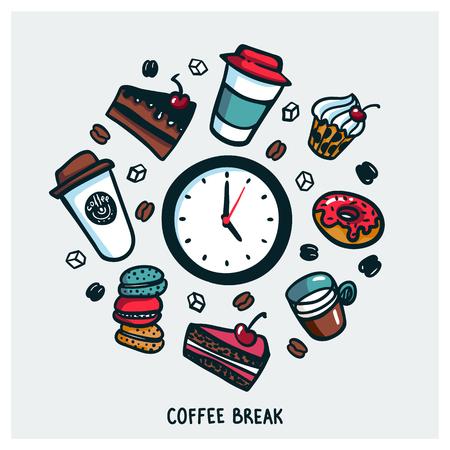 Coffee break concept. Time for a coffee break. Colorful doodle style cartoon set of objects and symbols on coffee time theme. Coffee cups and sweets on light background. Vecror illustration. Banco de Imagens - 109759550