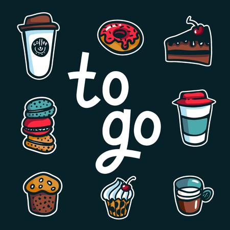 Café para llevar. Cartel con letras para llevar y sacar tazas de café y dulces sobre fondo oscuro. Excelente para el diseño de menús, pegatinas, aplicaciones y café para llevar. Ilustración vectorial Ilustración de vector