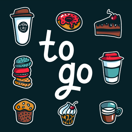 Coffee to go. Poster with lettering To Go and take out coffee cups and sweets on dark background. Exellent for menu design, stickers, apps and take away coffee. Vector Illustration Illusztráció