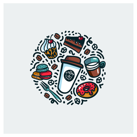 Coffee and cake concept. Colorful doodle style cartoon objects on coffee theme made in circle. Exellent for advertisments, signboards, menu and web banner designs. Vector illustration