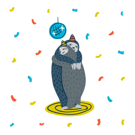 Animal party. Lazy sloth party. Couple of sloths dancing on a dance floor. Vector illustration