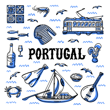 Portugal landmarks set. Handdrawn sketch style vector illustration. Stock Photo