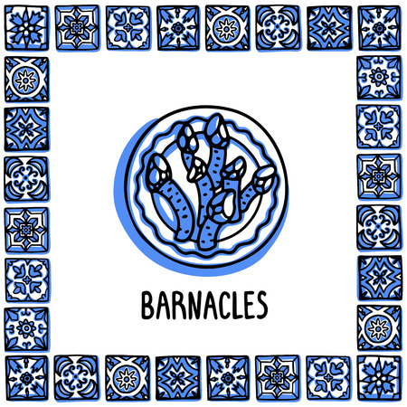 Portugal landmarks set. Goose Barnacles, Percebes traditional delicacy seafood. Plate with barnacles in frame of Portuguese tiles. Sketch style vector illustration, for souvenirs, magnets, post cards.