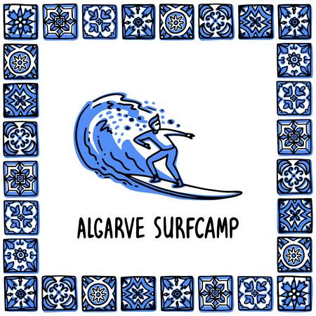 Portugal landmarks set. Algarve surfcamp. Surfer rides on a wave in frame of Portuguese tiles, azulejo. Handdrawn sketch style vector illustration. Exellent for souvenirs, magnets, banner, post cards.
