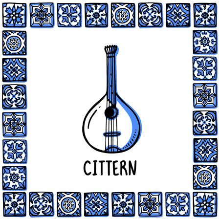 Portugal landmarks set. Portuguese fado guitar, cittern. Guiter in frame of Portuguese tiles, azulejo. Handdrawn sketch style vector illustration. Exellent for souvenirs, magnets, banner, post cards.
