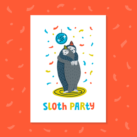 Lazy sloth party greeting card or invitation. Animal party. Couple of sloths dancing on a dance floor. Vector illustration