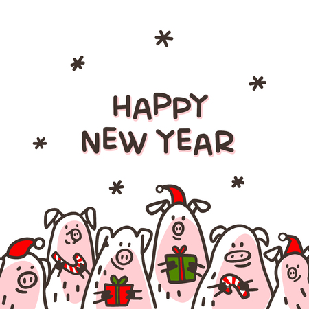 happy new year pig greeting card funny pigs with candy canes gifts and santa