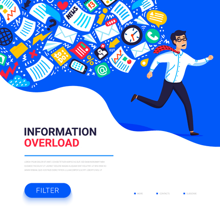 Information overload concept. Young man running away from information stream pursuing him. Concept of person overwhelmed by information. Colorful vector illustration in flat style