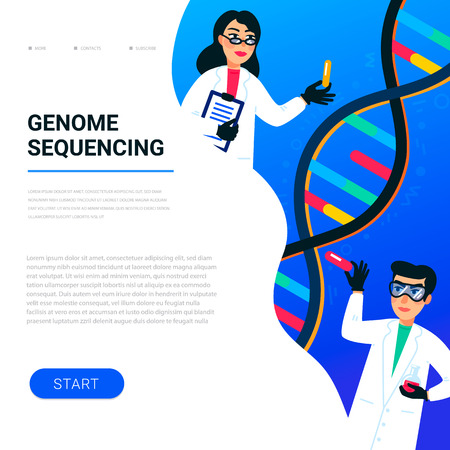 Genome sequencing concept. Scientists working in nanotechnology or biochemistry laboratory. Molecule helix of dna, genome or gene structure. Human genome project. Flat style vector illustration. Stock Illustratie