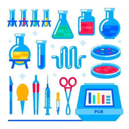 Nanotechnology and biochemistry. Polymerase chain reaction PCR machine and Laboratory equipment. Flask, vial, test-tube, glass retorts. Human genome sequencing project. Flat style vector illustration Stock Illustratie