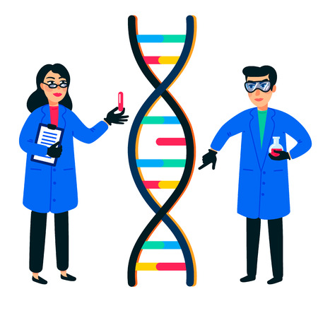 Human genome research. Scientist working with a dna helix, genome or gene structure. Human genome project. Flat style vector illustration Stock Illustratie
