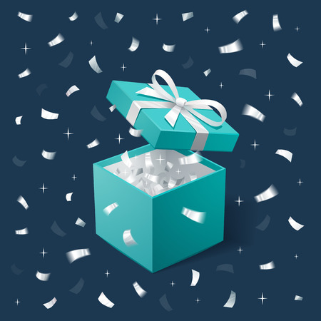Gift Box and silver Confetti. Teal jewelry box on dark background. Template for cosmetics and jewelry shops. Christmas Background. Vector Illustration. Stock Illustratie