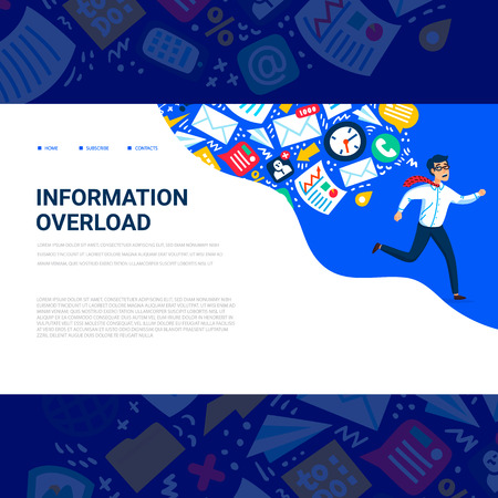 Information overload concept. Horizontal template with Young man running away from information stream pursuing him. Usable for web banner, articles, infographics. Colorful vector flat illustration Stock Illustratie