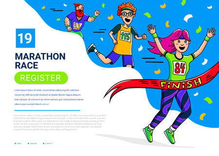 Marathon race banner template. Woman, man and teenager crossing finish line. Cartoon style characters. Runner competiition. Vector illustration.
