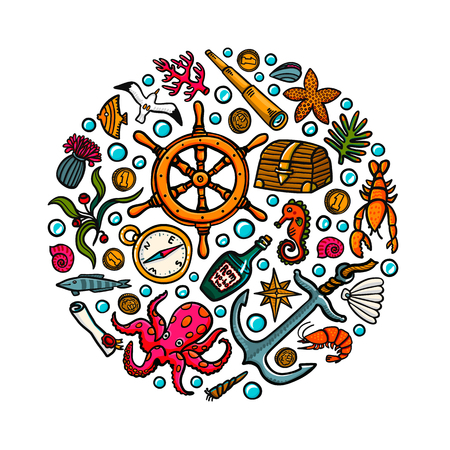 Sea adventures card. Marine hand drawn vector and objects. Doodle style vector illustration