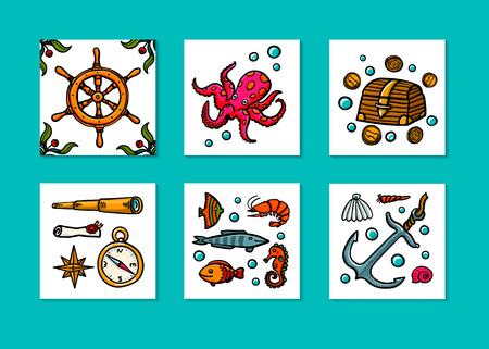 Sea adventures card set. Marine hand drawn vector objects. Doodle style vector illustration