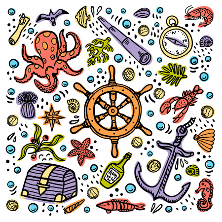 Sea adventures card. Marine hand drawn vector objects. Doodle style vector illustration