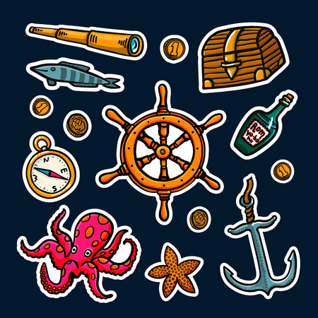 Sea adventures sticker set. Marine hand drawn vector objects. Doodle style vector illustration