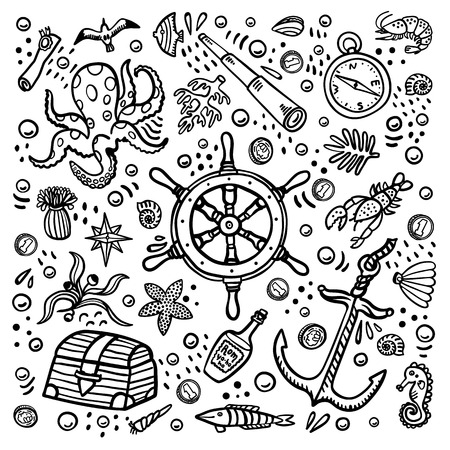 Sea adventures coloring page. Marine hand drawn vector objects. Doodle style vector illustration
