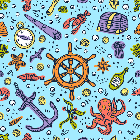 Sea adventures seamless pattern on blue background. Marine objects and creatures. Doodle style vector illustration Иллюстрация