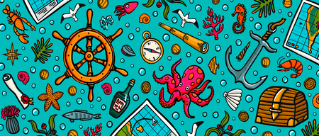 Sea adventures horizontal background. Marine objects and creatures. The cover of the site or head web banner. Doodle style vector illustration Stock Illustratie