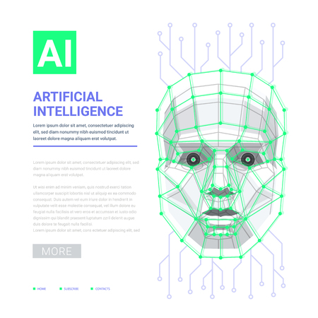 AI Artificial intelligence concept. Human face consisting of polygons, points and lines. Vector illustration