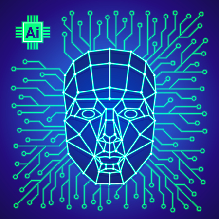 Big data and artificial intelligence concept. Human face consisting of polygons, points, lines and binary data flow on blue background. Machine learning and cyber mind. Vector illustration