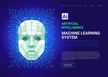 Machine learning system web template. Human face consisting of polygons, points, lines and binary data flow on blue background. artificial intelligence and cyber mind. Vector illustration