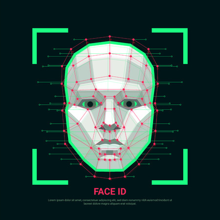 Face ID concept. Biometric identification or Facial recognition system. Human face consisting of polygons, points and lines. Vector illustration
