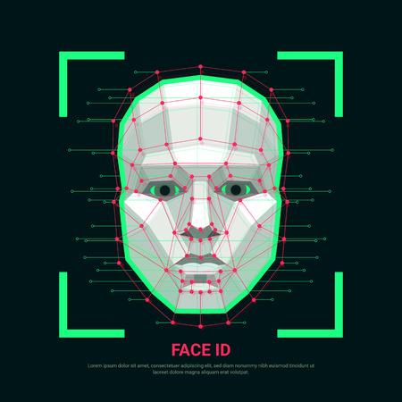 Concepto de identificación facial. Sistema de identificación biométrica o reconocimiento facial. Rostro humano formado por polígonos, puntos y líneas. Ilustración vectorial