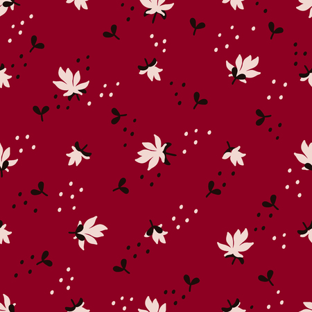Nahtloses Blumenmuster. Modetextilmuster mit dekorativen Jasminblüten und -blättern auf rotem Hintergrund. Vektor-Illustration