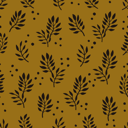 Seamless Floral Pattern. Fashion textile pattern with decorative branches on mustard background. Vector illustration.