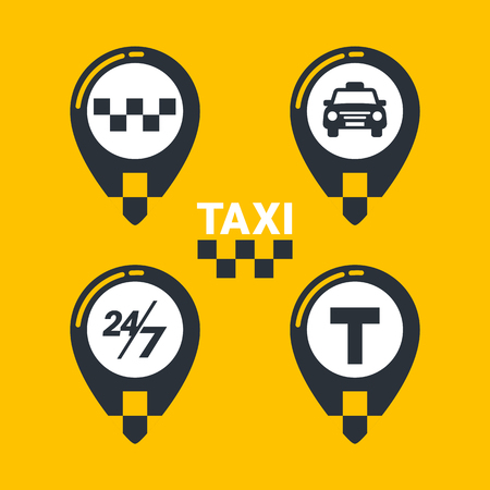 Taxi service icons. Taxi map pins with checkers, taxi car, T-sign and twenty-four seven sign on yellow background. lat style Vector illustration