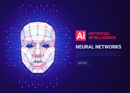 Neural networks and artificial intelligence concept. Human face consisting of polygons, points, lines and binary data flow on blue background. Machine learning and cyber mind. Vector illustration Stock Illustratie