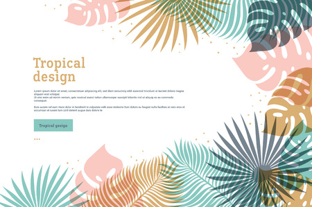 Horizontal tropical banner in pastel colors. Summer tropical design with exotic palm leaves. Monstera, palm leaves. Exotic botanical template. Summer jungle design. Vector illustration.