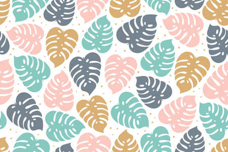 Tropical seamless pattern in pastel colors. Summer tropical design with exotic monstera leaves. Exotic botanical design. jungle pattern. Vector illustration.