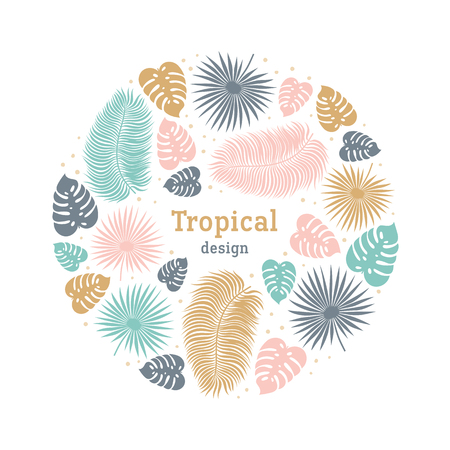 Tropical round shape template in pastel colors. Summer tropical design with exotic palm leaves. Monstera, palm leaves. Exotic botanical template. Summer jungle concept. Vector illustration.