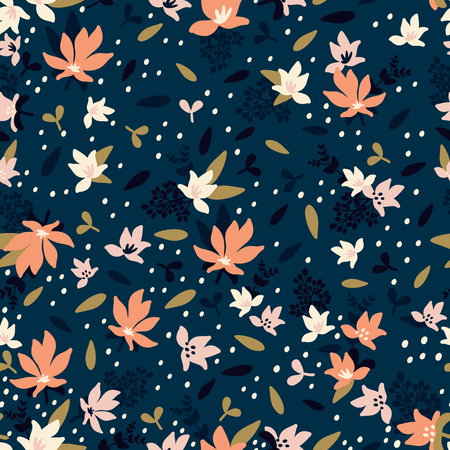 Seamless Floral Pattern. Fashion textile pattern with decorative leaves, flowers and branches in dust colors on dark blue background. Vector illustration Stock Illustratie