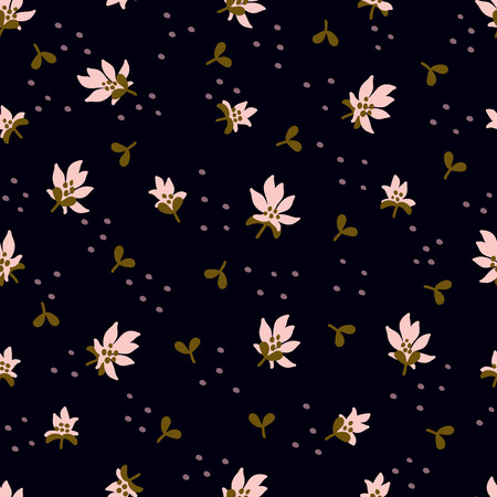 Seamless Floral Pattern. Fashion textile pattern with decorative leaves, flowers and branches on black background. Vector illustration Illustration