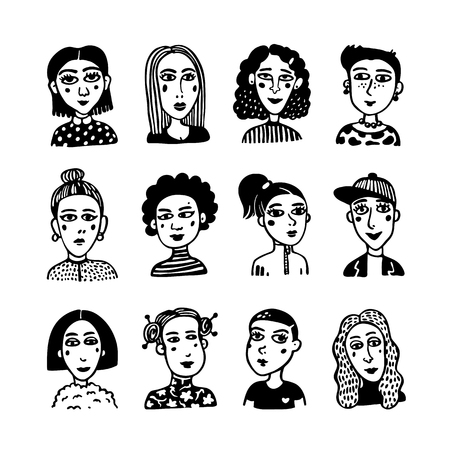 Big set of gilrls avatars. Doodle style portraits of fashionable girls. Feminists union, girls power, sisterhood concept. Black and white hand drawn vector illustration.