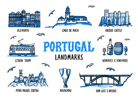 Portugal landmarks set. Handdrawn sketch style vector illustration. Stock Illustratie