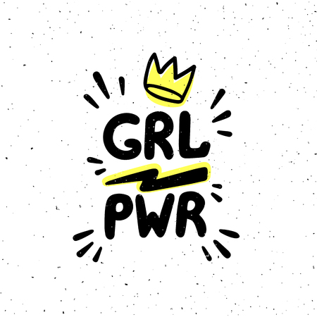 GRL PWR quote. Girl Power hand drawing inscription and crown for print, brochure, greeting card, bag, t-shirt. Vector illustration.