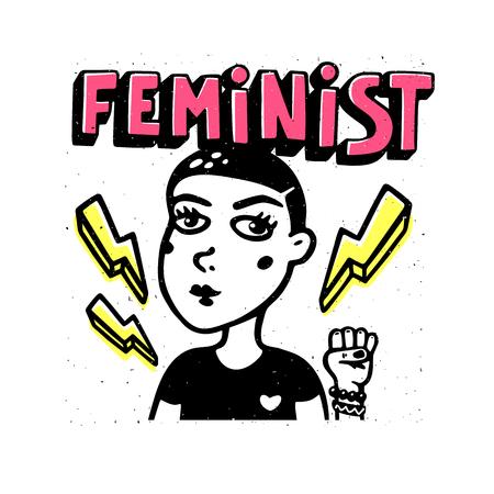 Feminist print. Girl portrait and feninist text on white background. Feminist movement, protest action, girl power. Vector illustration