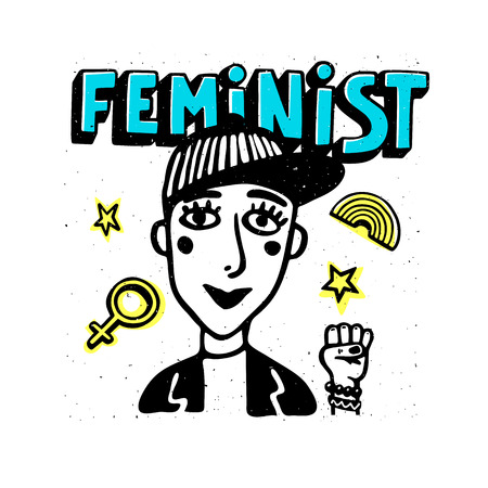 Feminist print. Girl portrait and feminist text on white background. Feminist movement, protest action, girl power. Vector illustration